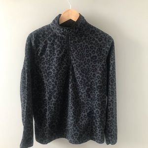 Black Leopard Print Zip Up